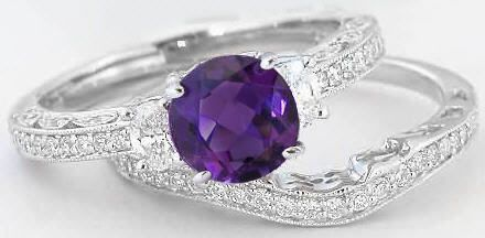 Amethyst Wedding Rings   Amethyst Engagement Ring with Vintage Styling, Matching Band available ...