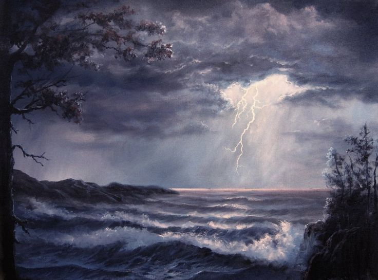 """""""Lightning Storm"""" by Kevin Hill Check out my YouTube channel: KevinOilPainting For more information about brushes, DVDs, events, and more go to: www.paintwithkevin.com"""