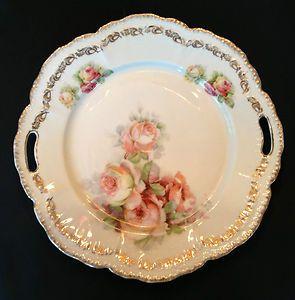 "Antique SCH Bavaria Germany Pink Roses Gold Trim 10"" Handled Plate Dish | eBay"