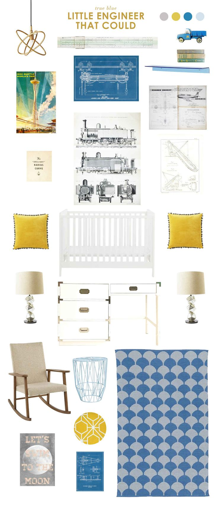 A blue and yellow baby nursery that works way beyond the baby years - the little engineer that could