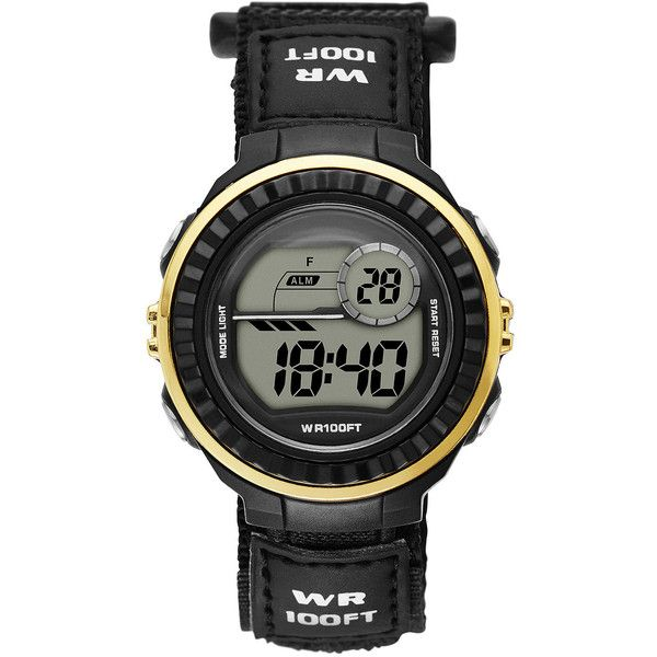 Womens Gold Bezel Black Plastic Strap Digital Watch ($13) ❤ liked on Polyvore featuring jewelry, watches, digital watch, dial watches, wrap strap watches, alarm wrist watch and sporty watches