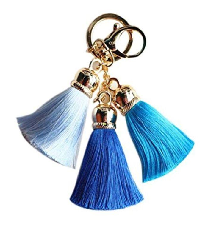 Keychains, Mikey Store Ice Silk Tassel Pompom Car Keychain Handbag Key Ring (Set of Blue) - Brought to you by Avarsha.com