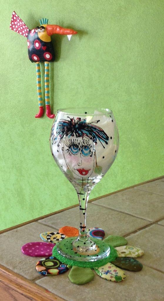 Glass by Carolyn King, bird and coaster by Jodie Flowers.: Drinks Coasters, Jodie Flowers, Wine Glasses, Birds, Photo, Wine Drinks, Scarfs Patterns, Carolyn King, Crochet Scarfs
