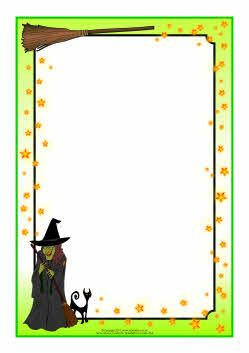 Witch and wizard-themed A4 page borders (SB4325) - SparkleBox