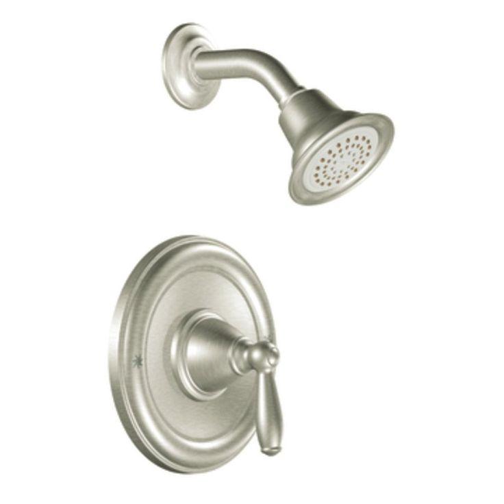 Moen Brantford Brushed Nickel 1-Handle WaterSense Shower Faucet Trim Kit with Single Function Showerhead