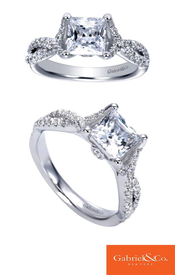 14k White Gold Diamond Cross Cross Engagement Ring by Gabriel & Co.