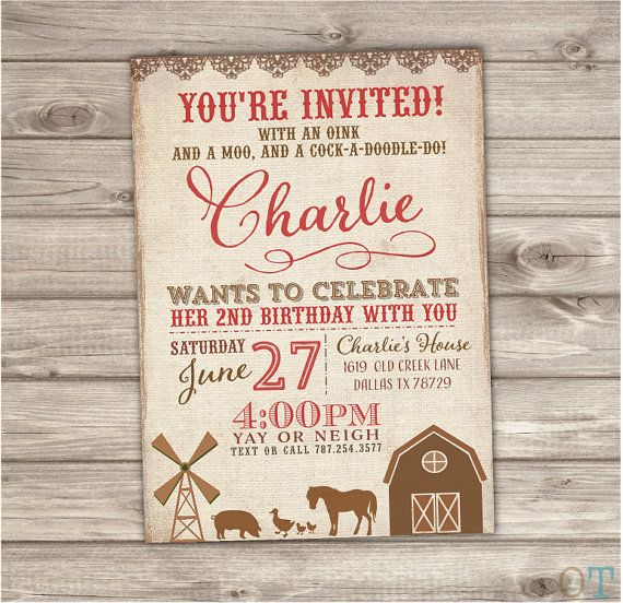 Farm Birthday Printable Invitations Rustic On the Farm Animals Barn Tractor Country Theme Party girl boy First Birthday Chevron NV2003