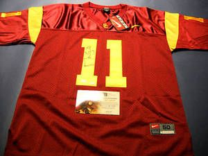 $150 Autographed Matt Leinart Authentic Southern Cal Trojans Nike Jersey. The 2010 season will be his time to shine in the desert! All Letters and Numbers are stitched on this size 50 Nike jersey and ready to be displayed in your sports room! It comes with dual COAs: GAI tamper proof serial numbered hologram sticker and a matching hologram COA and the GTSM Matt Leinart Hologram so you know it's authentic. This is an absolute must for all USC Trojans and Arizona Cardinals fans!
