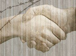 Handschlag, Hände, Reichen, Grenze, Zaun