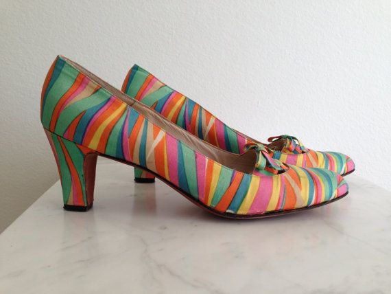 60s Psychedelic Saks Silk & Leather Shoes by JoulesVintage