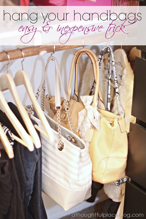 Get your bags off the floor by offering them a space on your closet's rod. S-shaped shower hooks hold them securely in place. See more at A Thoughtful Place »   - Redbook.com