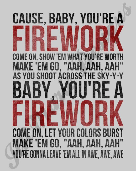 Firework by Katy Perry Song Lyric Digital by jillmarie7276
