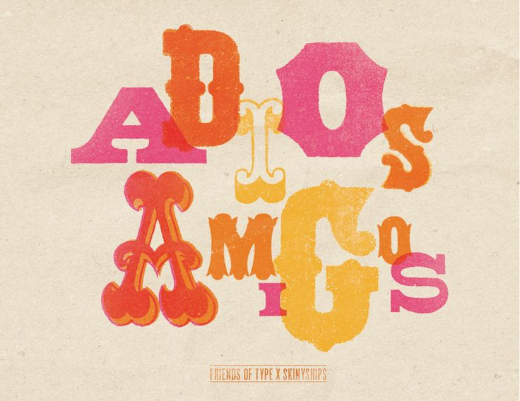 Adios Amigos: scanned type from old Western-style type catalog