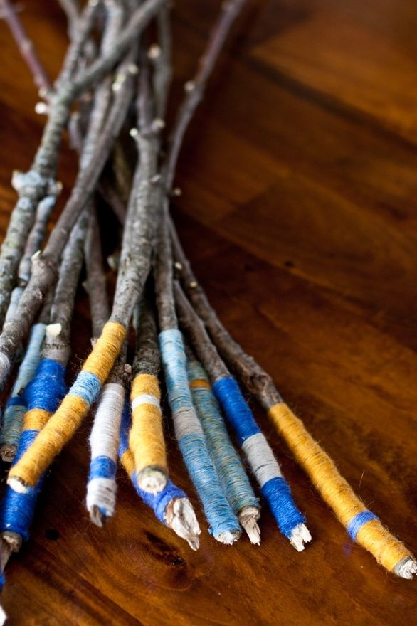 DIY marshmallow sticks for the wedding reception/bonfire. The colours could be customized for any pallet.: