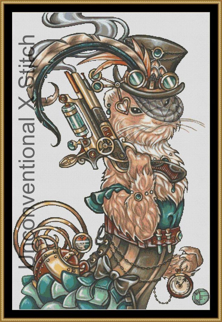Steampunk ferret cross stitch pattern - modern counted cross stitch - carla the steampunk bounty hunter ferret - Licensed Natalie Ewert by UnconventionalX on Etsy