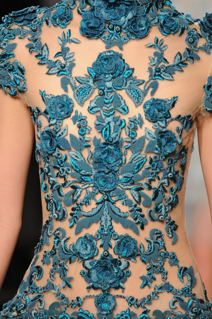 details of a dress - blue embroidered roses and leaves |Marchesa Spring 2012 Fashion Collection| Photography Anton Oparin