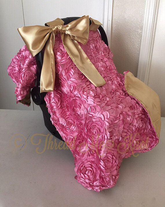 Pink Rosette & Gold Car Seat Canopy