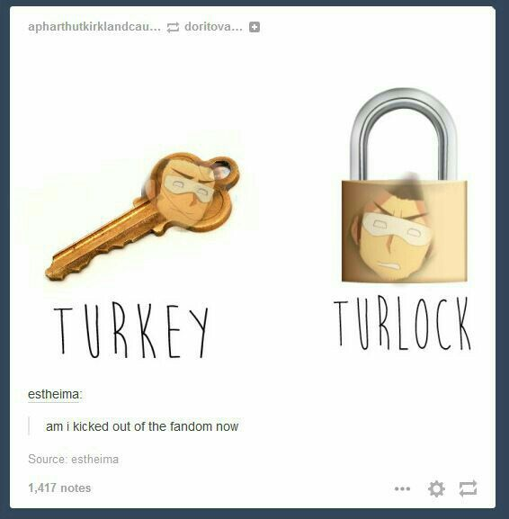 am I kicked out of the hetalia Fandom yet?>> imma be the supernatural bitch. If there is a Turlock then there must be a Turkey. <<< .....You Spain in the ass.