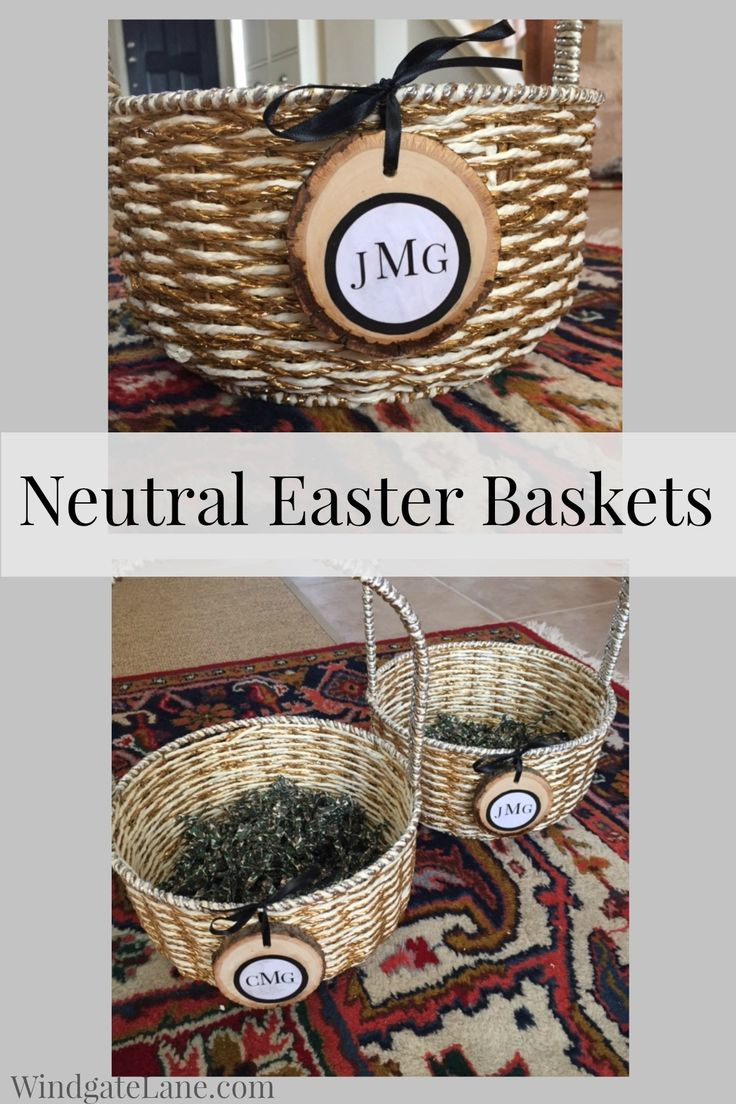 216 best easter basket images on pinterest easter easter ideas a neutral easter basket idea with a customized wood slice monogram negle Images