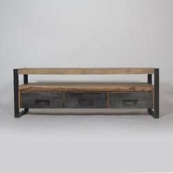 meuble tv bois massif et metal 3 tiroirs 160 industry - Meuble Tv Bois De Grange
