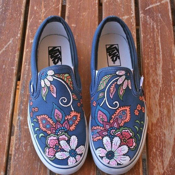 I love the detail in these shoes, the muted colors with the flowers remind me of a quilt, and have a really nice flow to them. I love the slight differences in each shoe and the way that the design flows is beautiful.