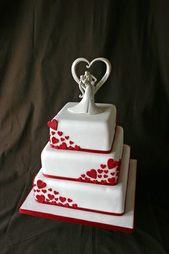 white and red wedding cakes | Wedding Cake - Red Hearts & Cake Topper | Flickr - Photo Sharing!