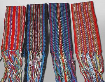 Métis Sash - the 3 metre long sash was usually wrapped around the midsection of the body, either to keep the coat closed, or to hold belongings, like a hunting knife or fire bag.