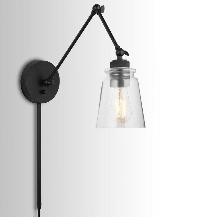 Longshore Tides Brycen 1 Light Swing Arm Lamp Reviews Wayfair Wall Lamps Bedroom Swing Arm Wall Sconce Plug In Wall Lamp