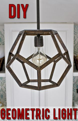 DIY geometric light made to look like an expensive Ralph Lauren light!