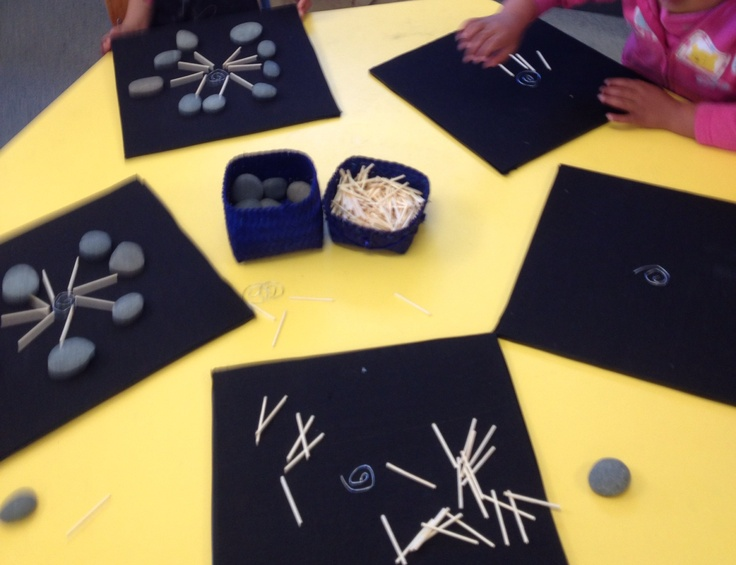 Using black card as a background helps the child to use the resources within that area. Here two resources are used, some small pebbles and wooden sticks, sorry about the quality of the photo