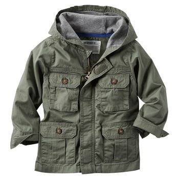 Toddler Boy Hooded Twill Cargo Jacket | Carters.com