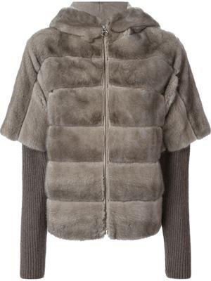 knitted sleeve hooded fur jacket