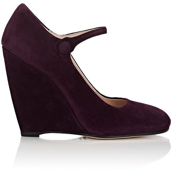 Miu Miu Women's Suede Mary Jane Wedge Pumps ($499) ❤ liked on Polyvore featuring shoes, pumps, mary-jane shoes, wedge mary janes, maryjane pumps, square-toe pumps and suede slip on shoes