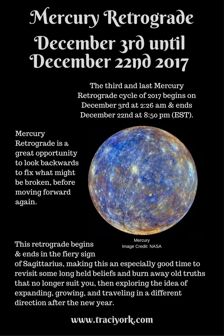 Coming up - Mercury Retrograde December 3rd through December 22nd. Don't fear it - put a positive spin on it!