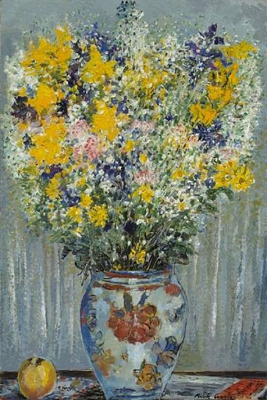 Michele Cascella -  A still life with a bouquet of flowers in a ceramic vase