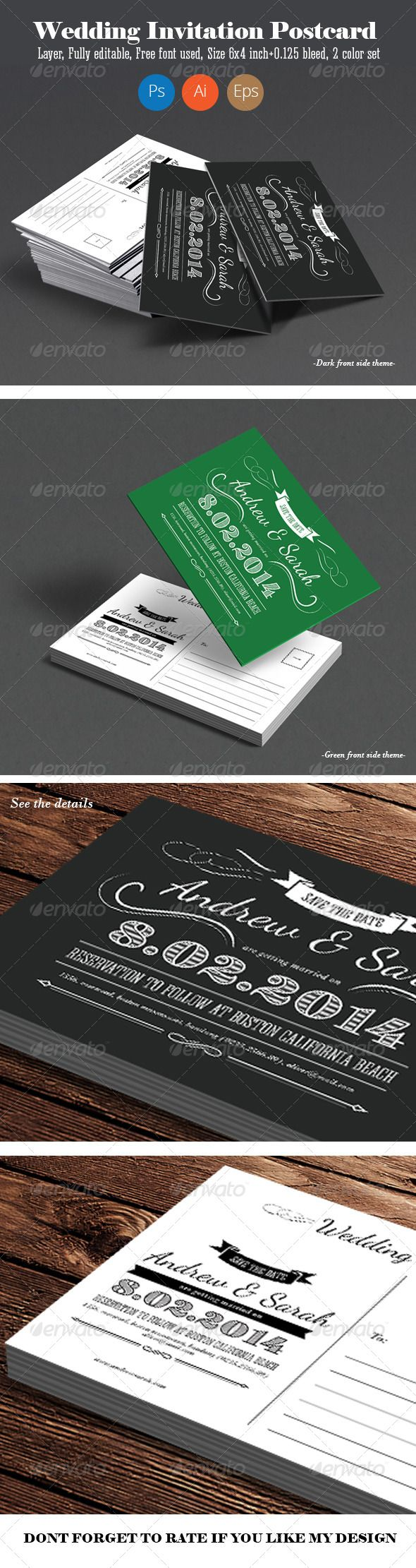 wedding invitation template themeforest%0A Vintage Wedding Invitation Post Card
