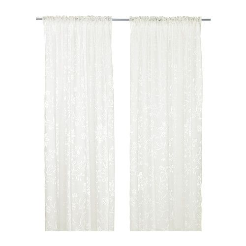 IKEA - BORGHILD, Sheer curtains, 1 pair, , The sheer curtains let the daylight through but provide privacy so they are perfect to use in a layered window solution.The curtains can be used on a curtain rod or a curtain track.The heading tape makes it easy for you to create pleats using RIKTIG curtain hooks.You can hang the curtains on a curtain rod through the hidden tabs or with rings and hooks.