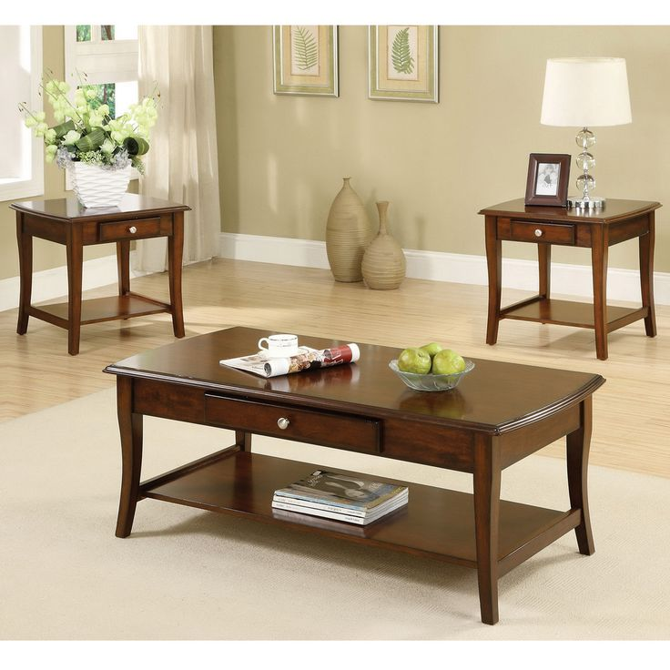Furniture Of America Nashey 3 Piece Casual Dark Oak Finish Coffee End Table Set By Furniture Of America
