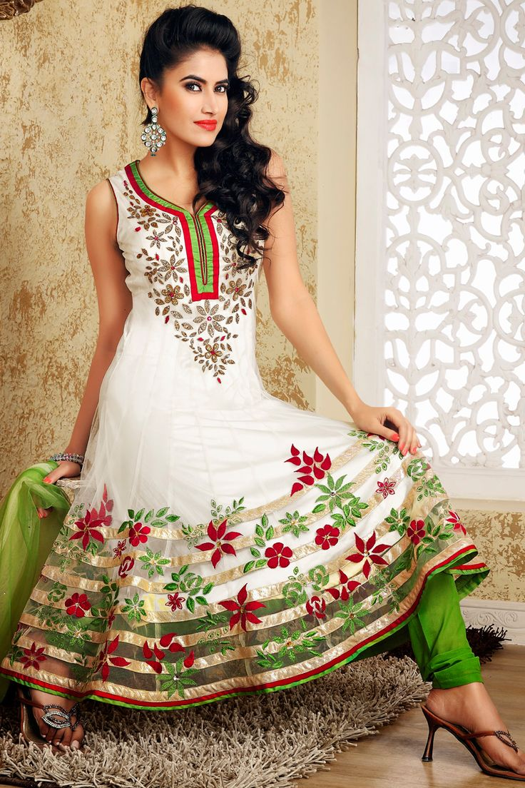 white and green Designers Wedding Indian Anarkali dress