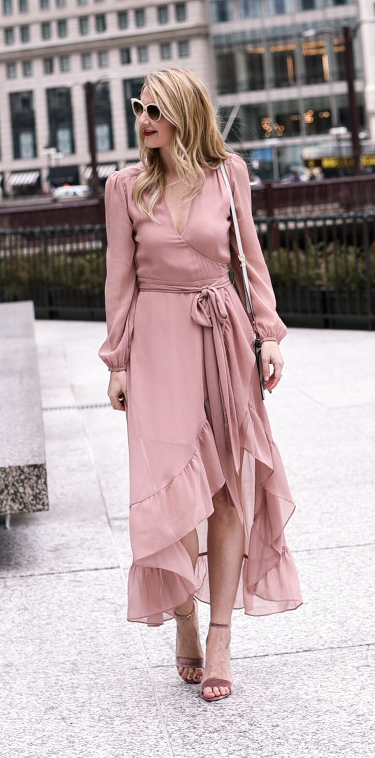 Blush midi dress with ruffle hem!