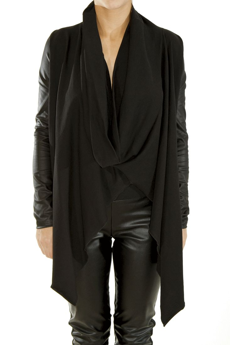 Asymetrical drapped front blouse / coverup Faux leather sleeves Amazing fit Slip on by DIG ATHENS #digathens #tops #greek4chic