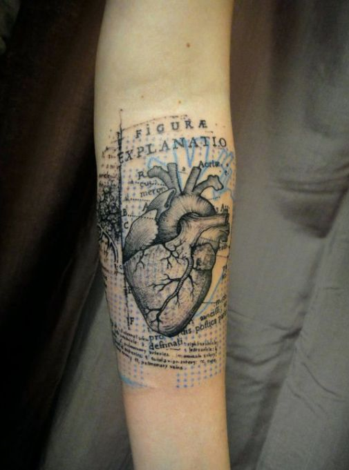 black and blue ink tattoo realistic #heart