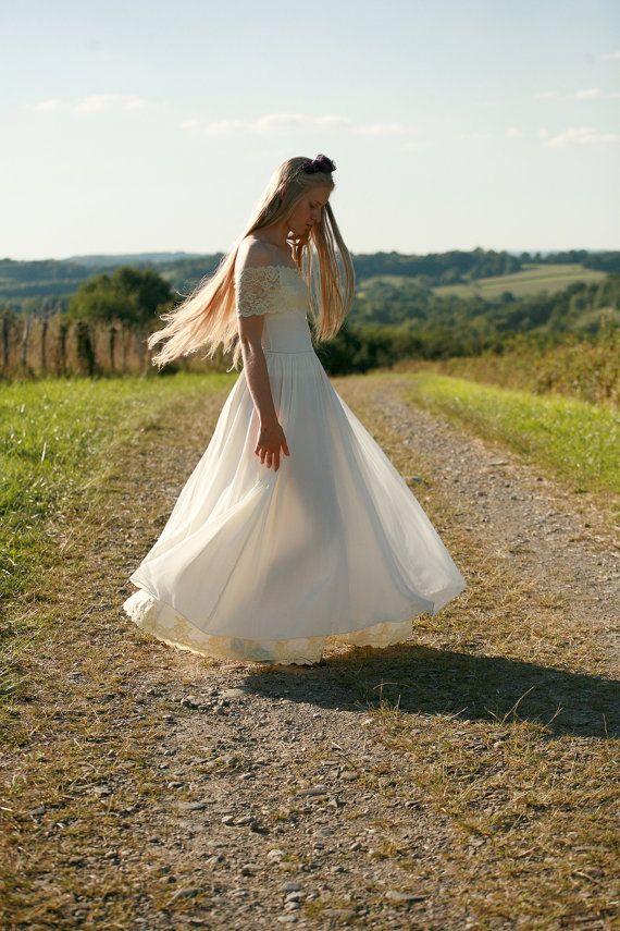 Garniture de mariée avec dentelle blanc cassé en soie mousseline de soie, coton jupe maxi pour braidmaids,