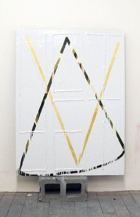 "Ian Swanson, ""The Argument,"" 2012, acrylic and enamel on canvas on, cinderblock…"