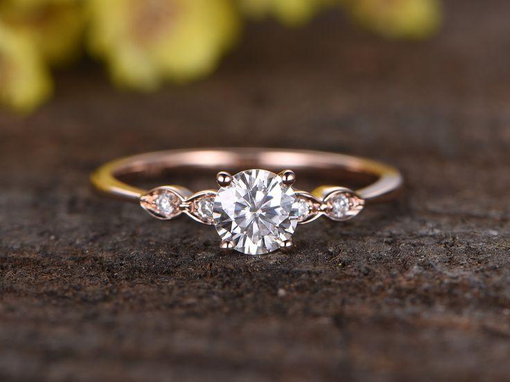 0.5 Carat Round Moissanite Engagement Ring Diamond 14k Rose Gold Three Stone Stacking Band