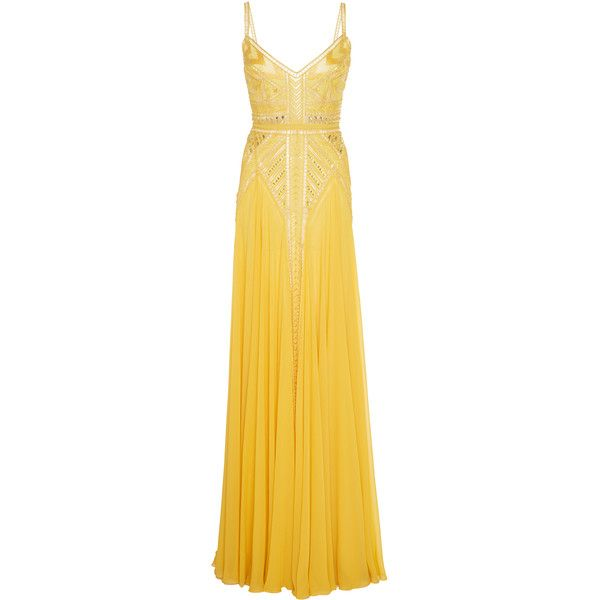 Elie Saab Long Dress ($11,800) ❤ liked on Polyvore featuring dresses, elie saab, gowns, yellow, embelished dress, embellished dress, long striped dress and long yellow dress