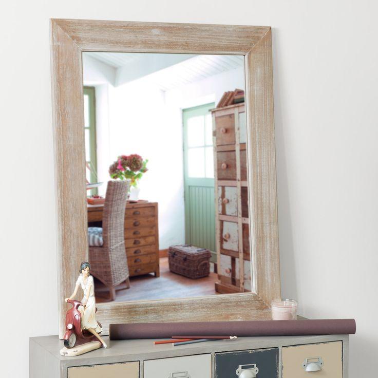 Specchio laccato in legno di paulonia H 90 cm NATURA