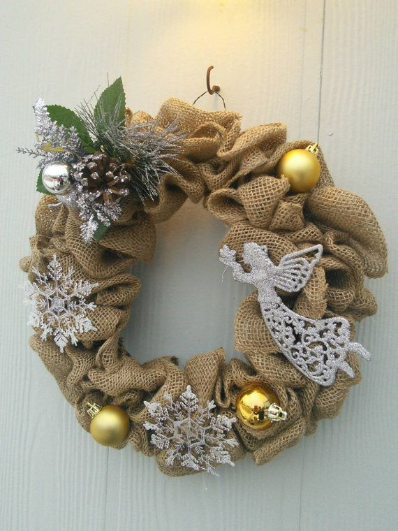 Christmas Burlap Wreath by ParadisePossible on Etsy