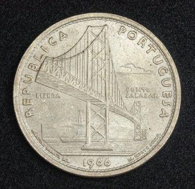 Portugal 20 Escudos Silver coin, Salazar Bridge, Mint Year 1966. Obverse: Perspective view of the Salazar Bridge. Legend: REPUBLICA PORTUGUESA / LISBOA / PONTE SALAZAR / 1966   Reverse: Shield of Portugal, topped by lis and value within geometric design. Legend: 20 ESCUDOS