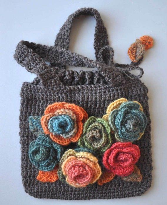 tığ işi gül işlemeli çanta modeli - Kadın, Giyim, Moda, Sağlık,
